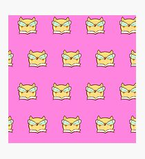 Cute,pink,cool cat with glasses, geek cat pattern, modern,trendy,hipster,fun,happy,cool,kid,kids,children,girly Photographic Print