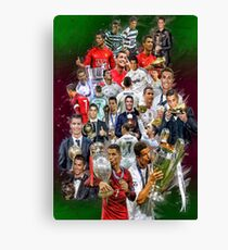 Cristiano Ronaldo (From Sporting de Lisboa Portugal to Real Madrid) + Portugal NT+ trophies Canvas Print