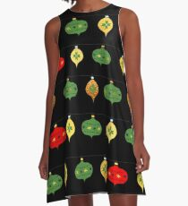 Cute Holiday Ornaments Pattern A-Line Dress