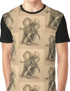 Baby Elephant at Play - Ink wash & crow quill pen painting Graphic T-Shirt