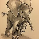 Baby Elephant at Play - Ink wash & crow quill pen painting by Rebecca Rees