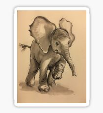 Baby Elephant at Play - Ink wash & crow quill pen painting Sticker