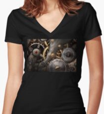 Steampunk - Gears - Horology Women's Fitted V-Neck T-Shirt