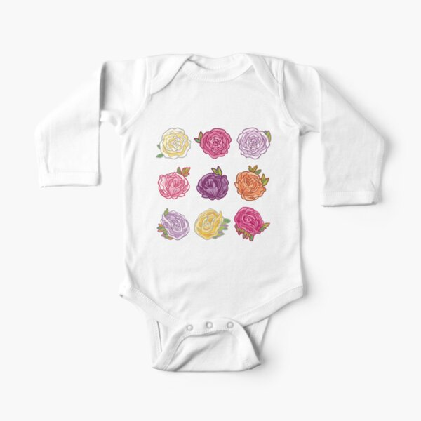 Decorative Roses Long Sleeve Baby One-Piece
