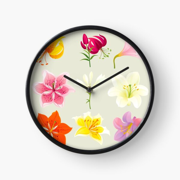 Colorful Lilies Clock