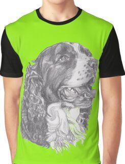 Classic English Springer Spaniel Dog Profile Drawing Graphic T-Shirt