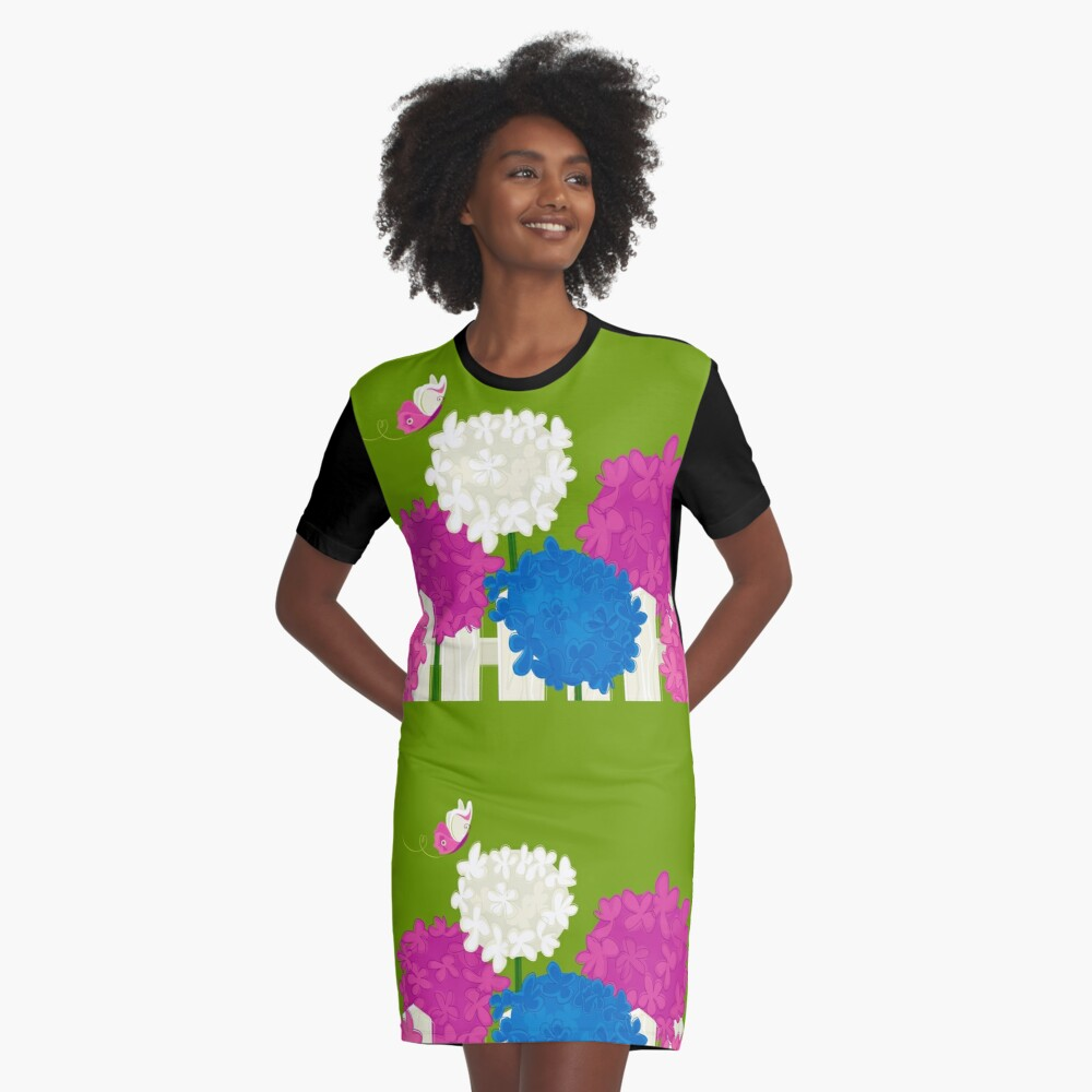 Flower Garden Graphic T-Shirt Dress