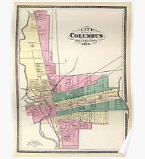 Karte von Columbus 1872 Poster