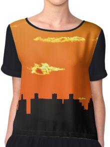 New York City Sunset Silhouette Women's Chiffon Top