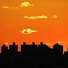 New York City Sunset Silhouette by Alberto  DeJesus