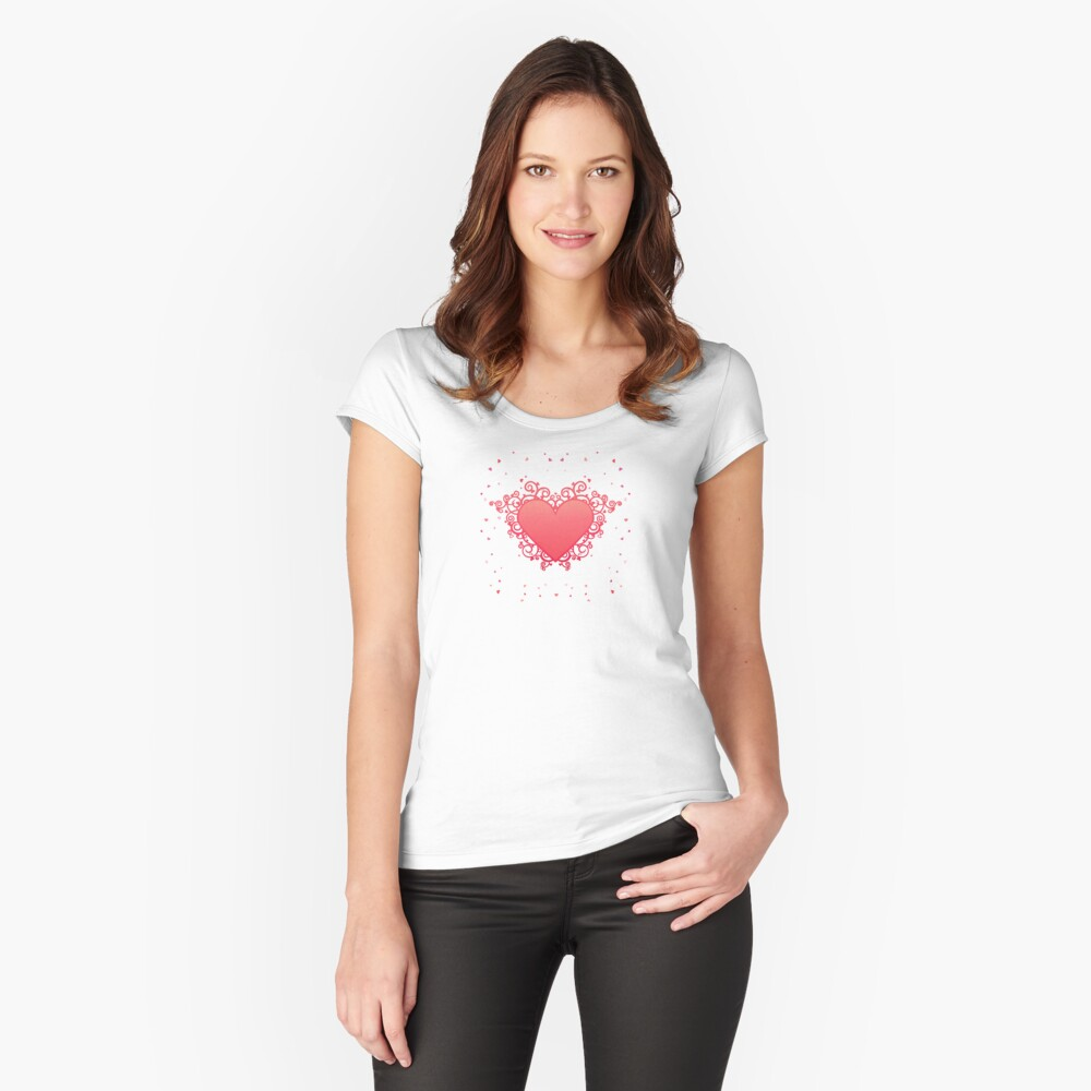 Elegant Red Heart Fitted Scoop T-Shirt