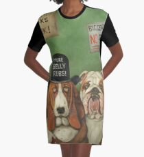 Dogs On Strike Graphic T-Shirt Dress