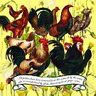 Gazing at Victorian Chickens 4 by Donna Catanzaro