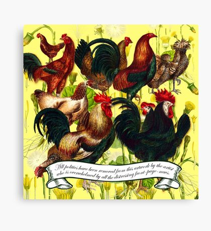 Gazing at Victorian Chickens 4 Canvas Print