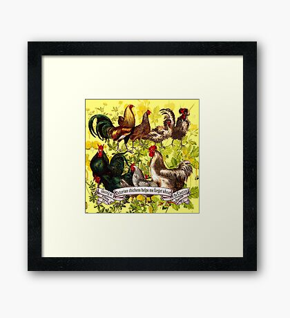 Gazing at Victorian Chickens 3 Framed Print