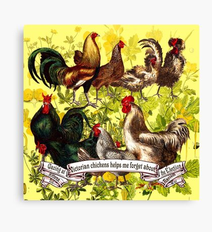 Gazing at Victorian Chickens 3 Canvas Print