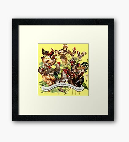 Gazing at Victorian Chickens 2 Framed Print
