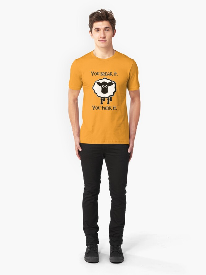 Alternate view of You Tank It - sheep (clean) Slim Fit T-Shirt