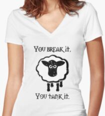 You Tank It - sheep (distressed) Women's Fitted V-Neck T-Shirt