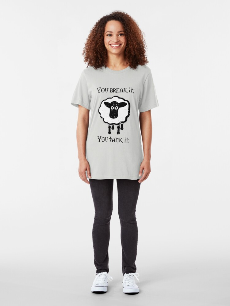 Alternate view of You Tank It - sheep (distressed) Slim Fit T-Shirt