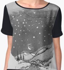 night scene snow Chiffon Top