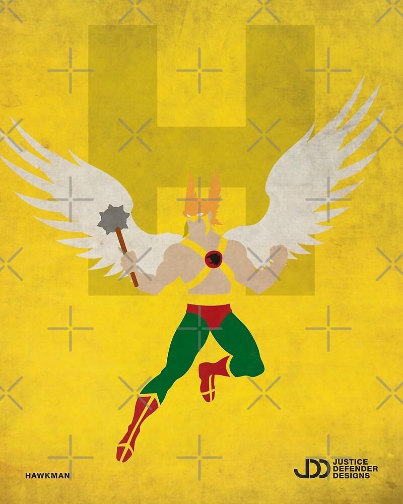 Hawkman - Superhero Minimalist Alphabet Print Art\