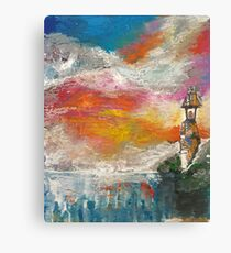 Oil Pastel Lighthouse Canvas Print