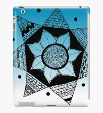 Flower Drawing - Blue Ombre Background (Larger) iPad Case/Skin