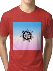 Flower Drawing - Pink and Blue Ombre Background (Smaller) Tri-blend T-Shirt