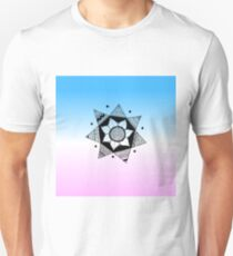Flower Drawing - Pink and Blue Ombre Background (Smaller) T-Shirt