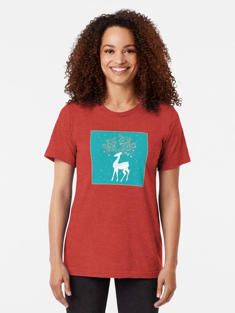Alternate view of Magic Winter Deer Tri-blend T-Shirt