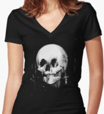 Woman with Halloween Skull Reflection In Mirror Women's Fitted V-Neck T-Shirt