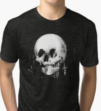Woman with Halloween Skull Reflection In Mirror Tri-blend T-Shirt