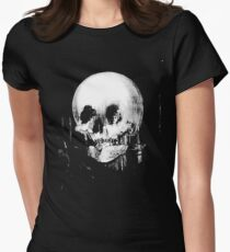 Woman with Halloween Skull Reflection In Mirror Women's Fitted T-Shirt