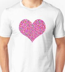 Abstract sewn pink flowers Unisex T-Shirt