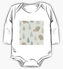 Polar bear in a scarf and Christmas trees winter design One Piece - Long Sleeve