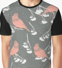 Red cardinals in hats and scarves winter design Graphic T-Shirt