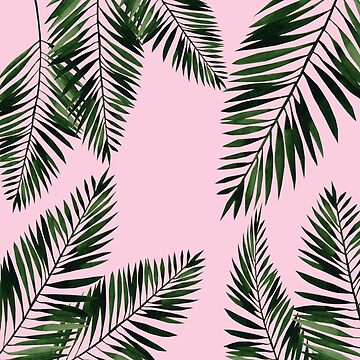 Watercolor tropical palm leaves on pink background by mariaheyens