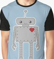 Cute Robot with Heart Graphic T-Shirt