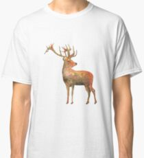 Red deer Stag watercolour winter design  Classic T-Shirt
