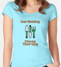 Gardening = Cheap Therapy Women's Fitted Scoop T-Shirt