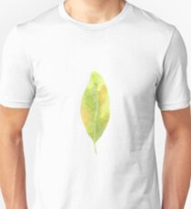 Leaf in green autumn colours watercolour winter design  T-Shirt