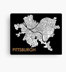 Pittsburgh neighborhood map Canvas Print