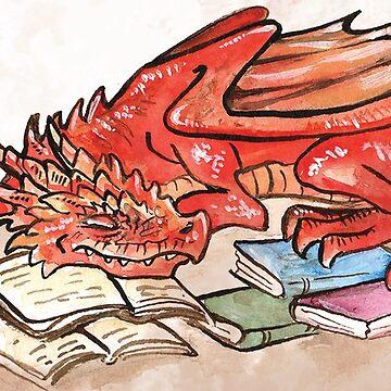 Red BookWyrm by JCathryn