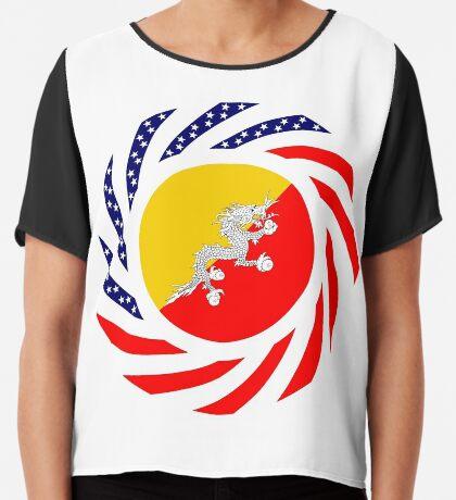 Bhutanese American Multinational Patriot Flag Series Chiffon Top