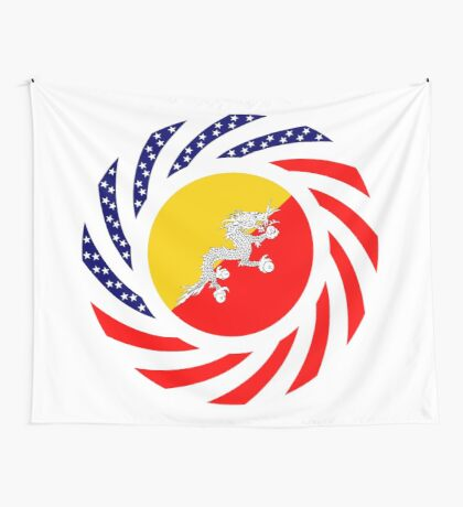 Bhutanese American Multinational Patriot Flag Series Wall Tapestry