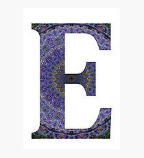 Letter 'E' Purple Mandala 2 Photographic Print