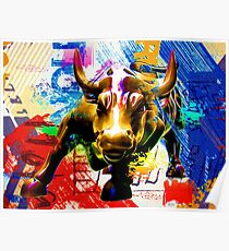 Wall Street Bull Painted Poster