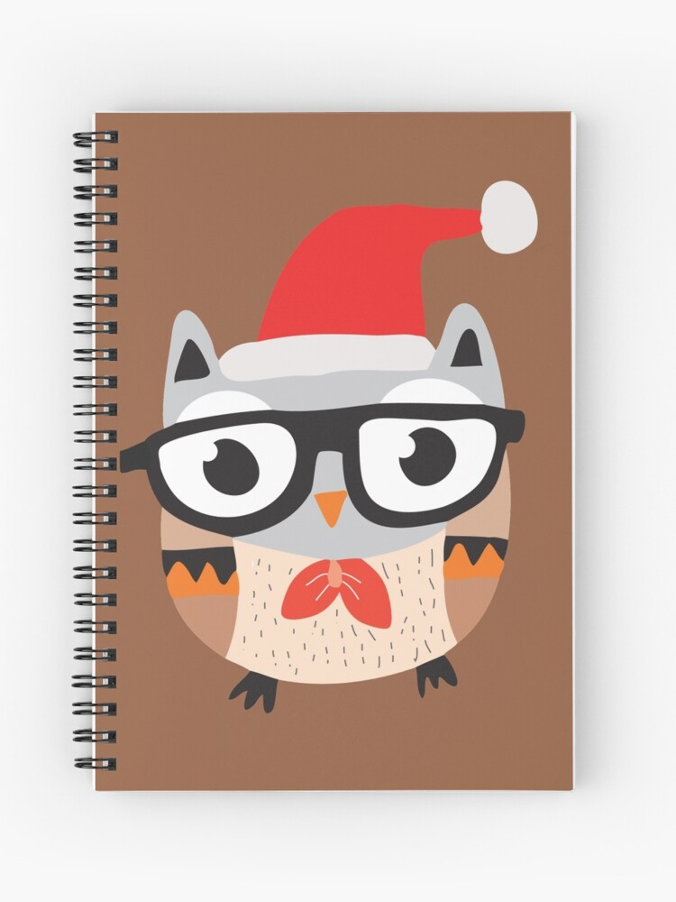 Christmas Owl.Christmas Owl With Glasses And Bow Tie Spiral Notebook