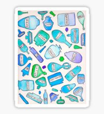 Blue bottles / pharmacy quirky funny pills food cookies party favors magic trippy psychedelic Sticker